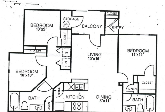 1,119 sq. ft. C2 floor plan