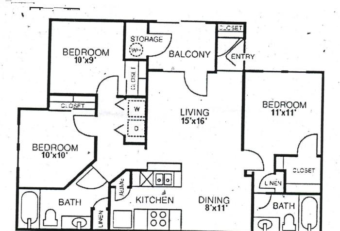 1,119 sq. ft. C2 floor plan