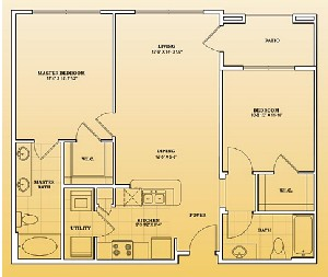 990 sq. ft. B1-303 floor plan