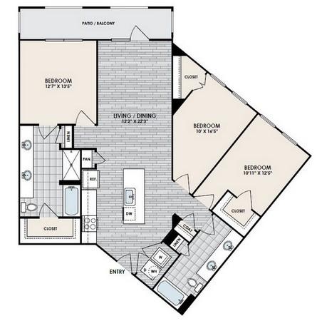 1,337 sq. ft. C2 floor plan