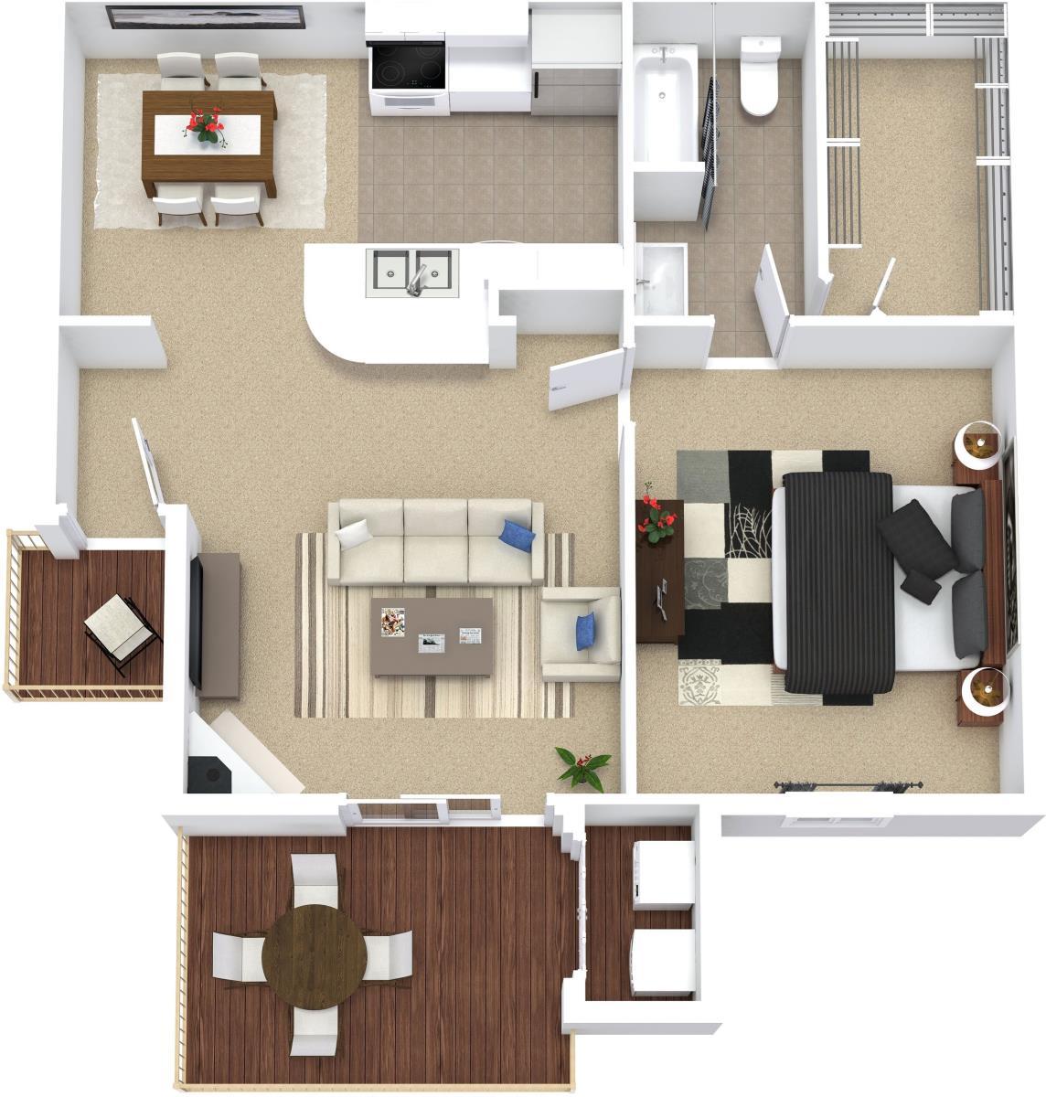 594 sq. ft. A1 floor plan