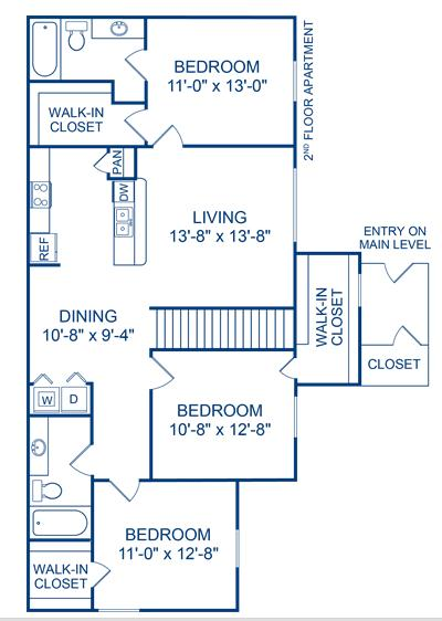 1,233 sq. ft. Bosque floor plan