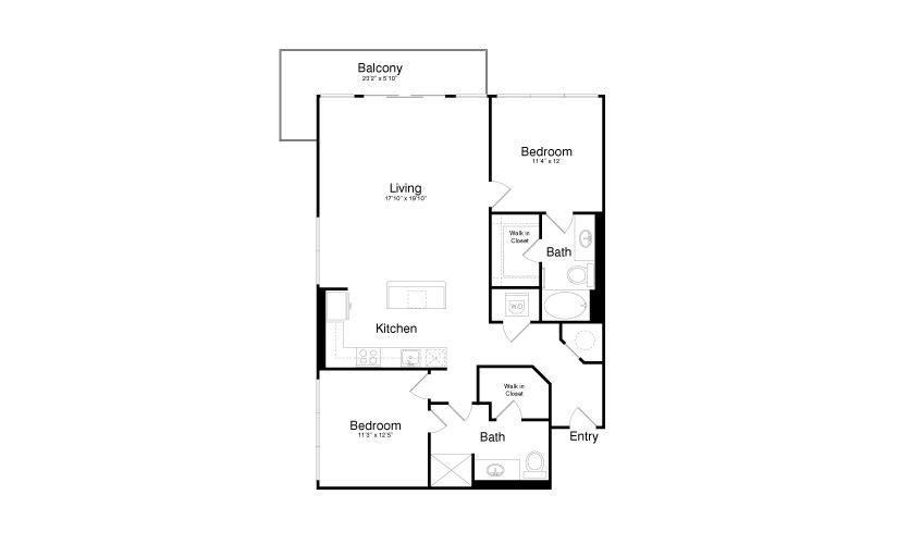 1,269 sq. ft. B4 floor plan
