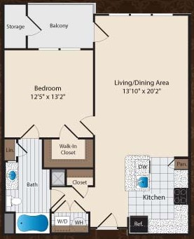 822 sq. ft. A2/Dealy floor plan