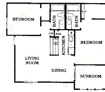 992 sq. ft. B2 floor plan