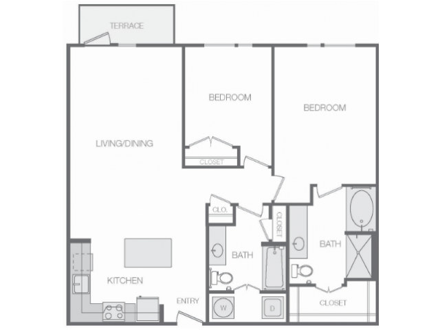 1,170 sq. ft. H floor plan