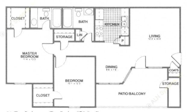 878 sq. ft. C1 floor plan