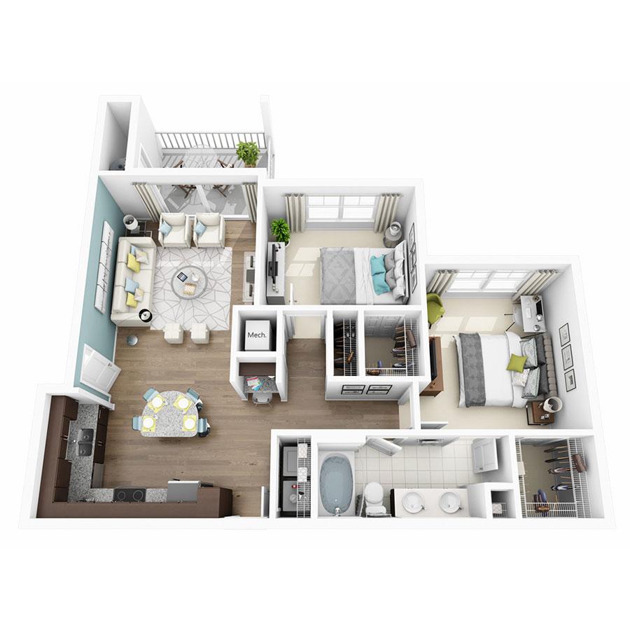 953 sq. ft. Enchant floor plan