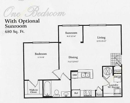 680 sq. ft. A1 PATIO floor plan