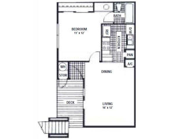 516 sq. ft. A floor plan