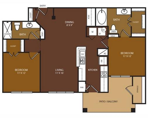 1,034 sq. ft. Randolph floor plan