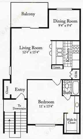 710 sq. ft. BSU floor plan