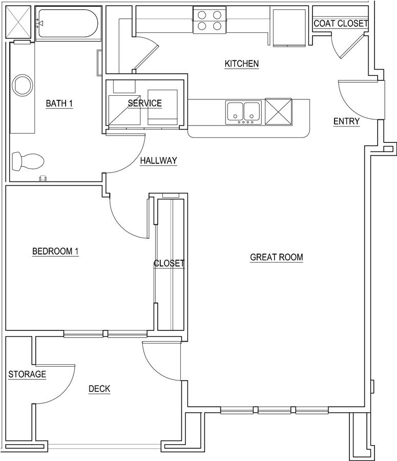 900 sq. ft. Dandelion/60% floor plan