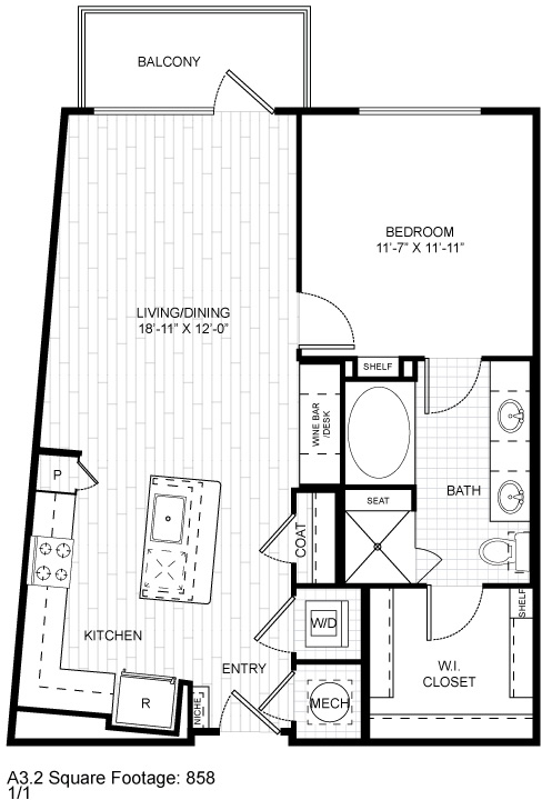 848 sq. ft. A2 floor plan