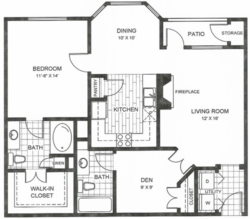 926 sq. ft. Chaves floor plan