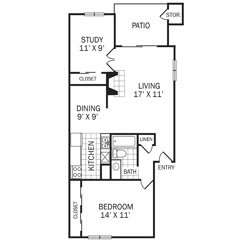 826 sq. ft. D1 floor plan