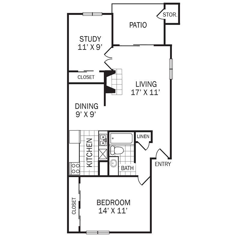 826 sq. ft. D1 floor plan