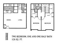 1,126 sq. ft. H floor plan
