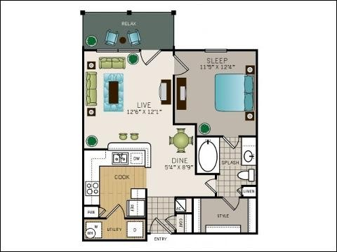 672 sq. ft. Wentworth floor plan