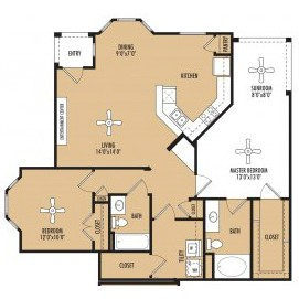 1,269 sq. ft. Fusion c floor plan