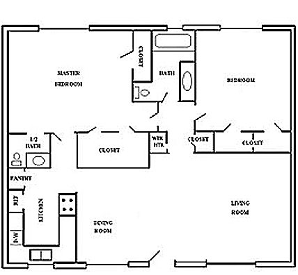 977 sq. ft. 3 floor plan