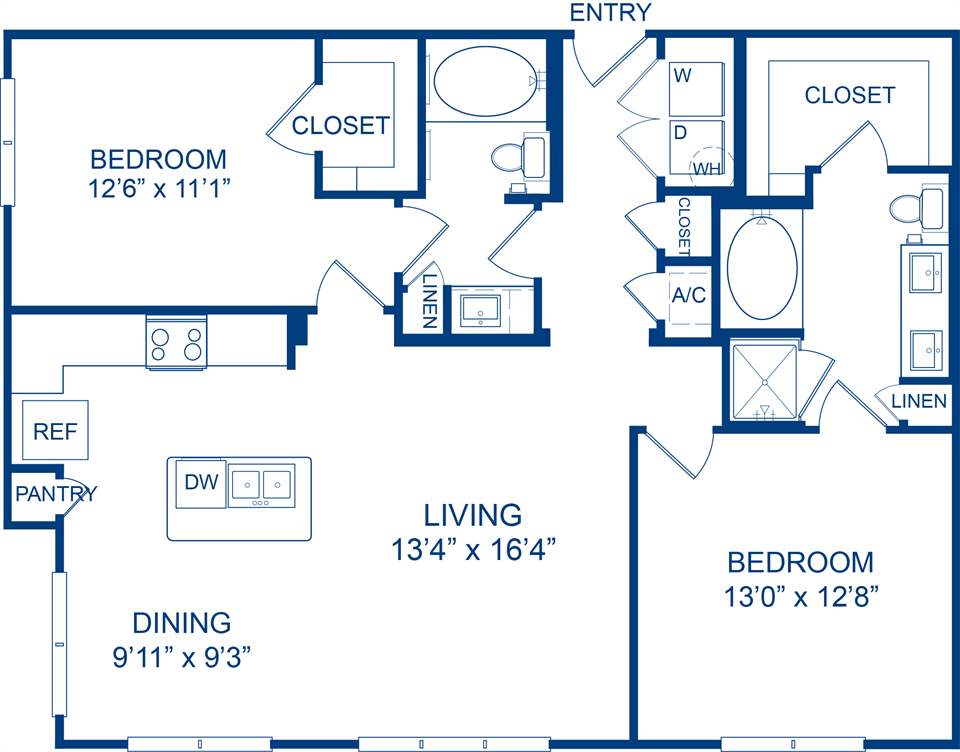 1,180 sq. ft. Turkscap floor plan