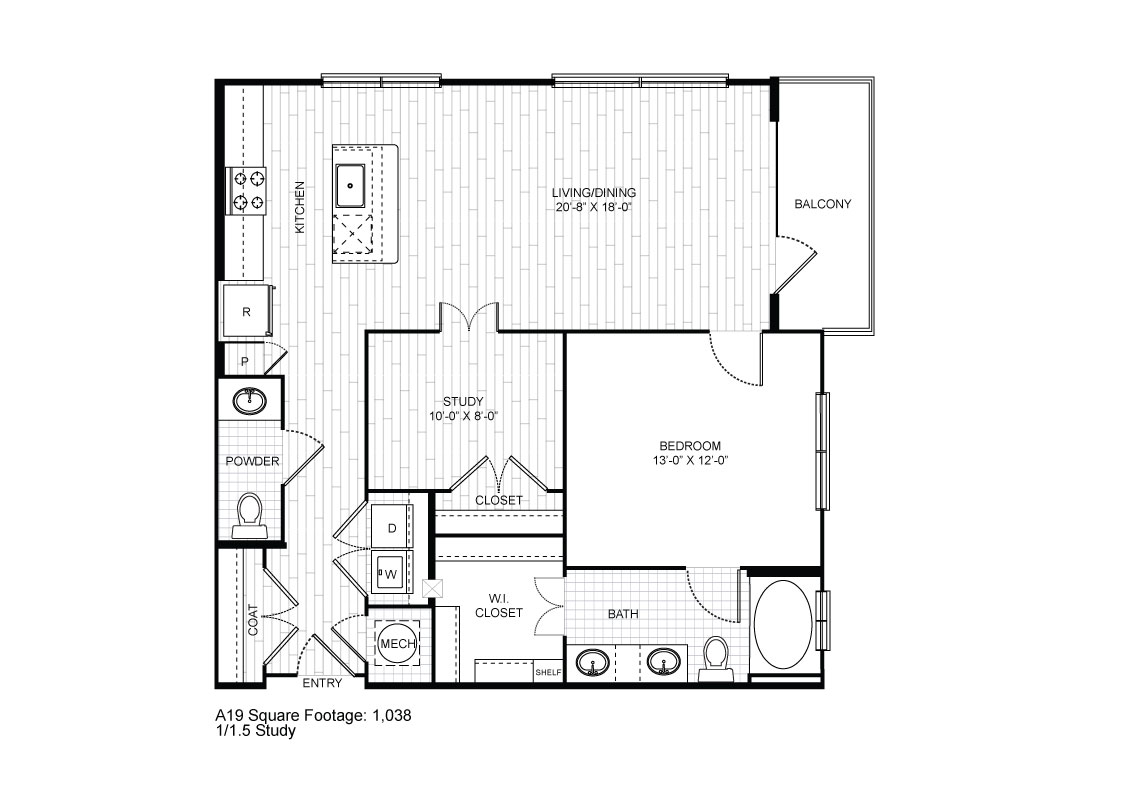 1,038 sq. ft. A19 floor plan