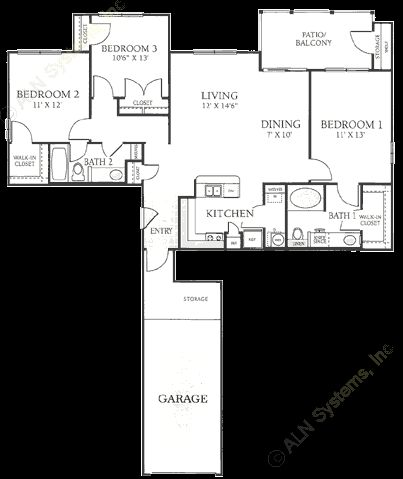 1,094 sq. ft. B3 floor plan