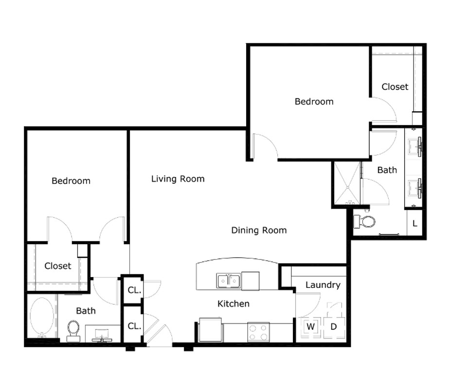 1,251 sq. ft. B3 floor plan