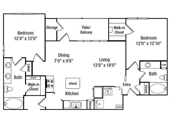 1,108 sq. ft. B6G floor plan