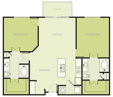 1,175 sq. ft. to 1,255 sq. ft. B2 floor plan