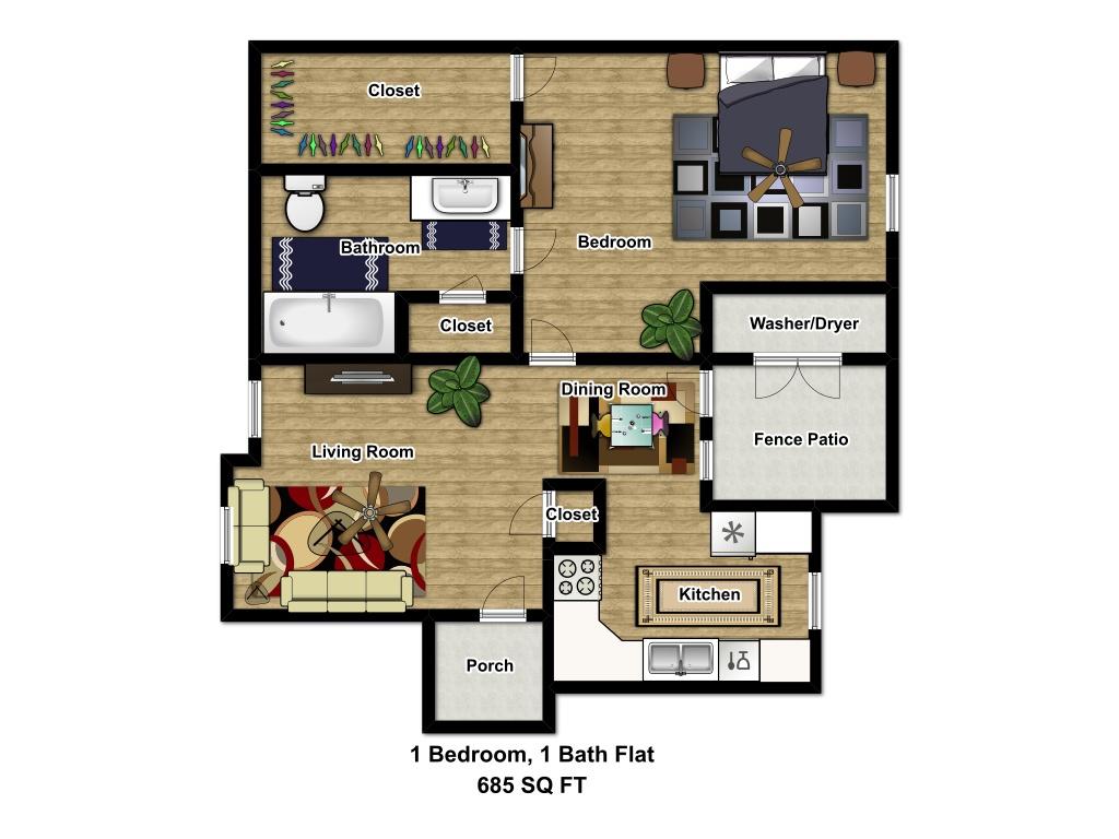 685 sq. ft. 50 floor plan