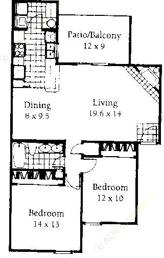 954 sq. ft. B floor plan