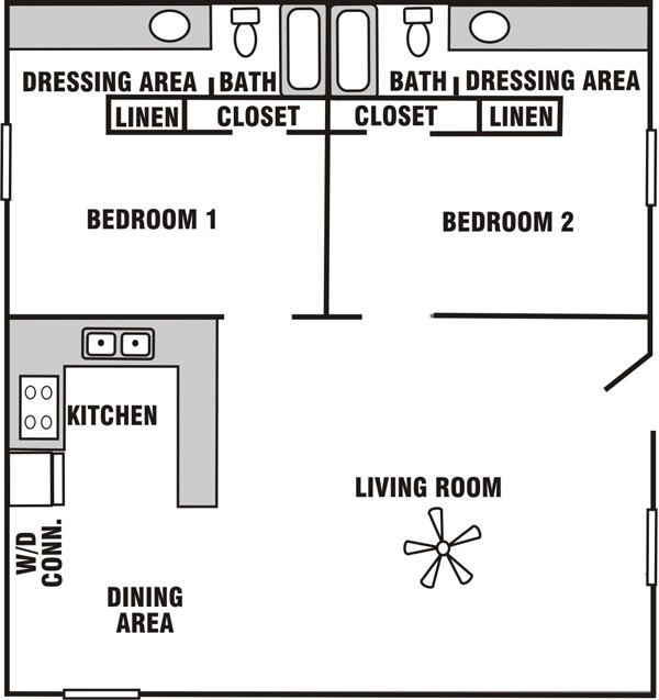 824 sq. ft. B-3 floor plan