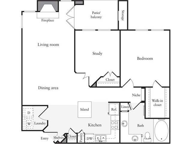 938 sq. ft. B1 floor plan