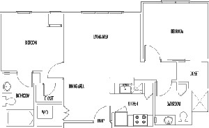 855 sq. ft. CHADWICK floor plan