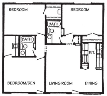 1,120 sq. ft. Cancun floor plan