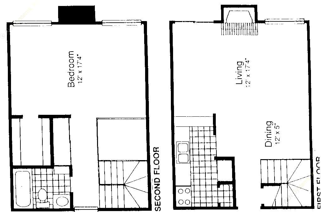936 sq. ft. A-5S floor plan