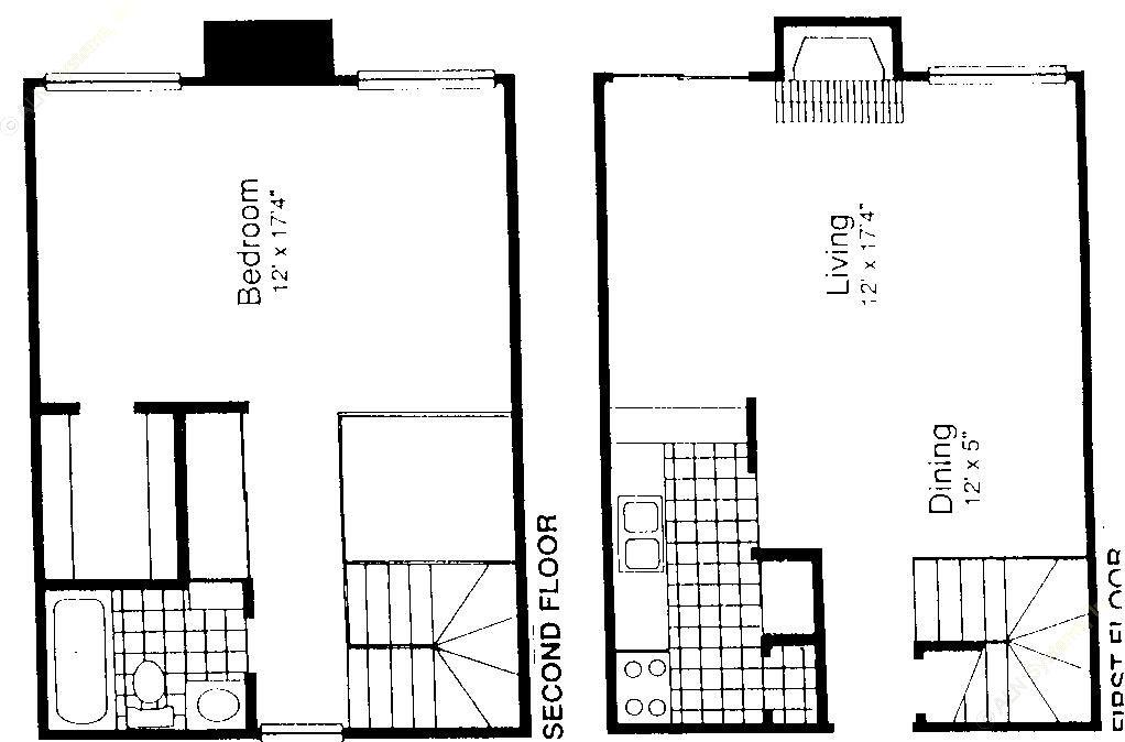 936 sq. ft. A-5S floor plan