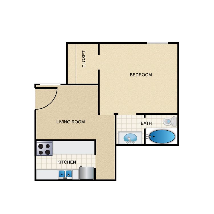 428 sq. ft. A1 floor plan