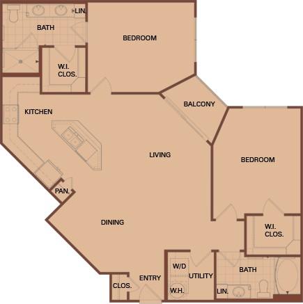 1,144 sq. ft. C3 floor plan