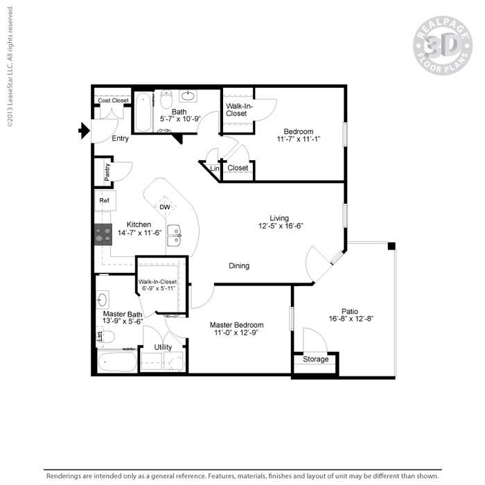 1,089 sq. ft. B2 floor plan
