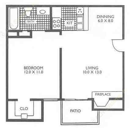 515 sq. ft. A1A floor plan