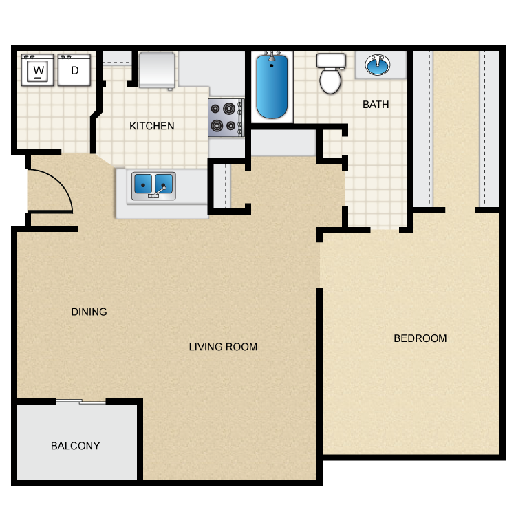 756 sq. ft. floor plan