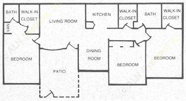 1,220 sq. ft. 60 floor plan