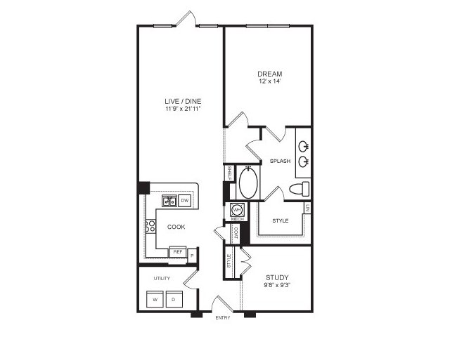 1,034 sq. ft. North Park floor plan