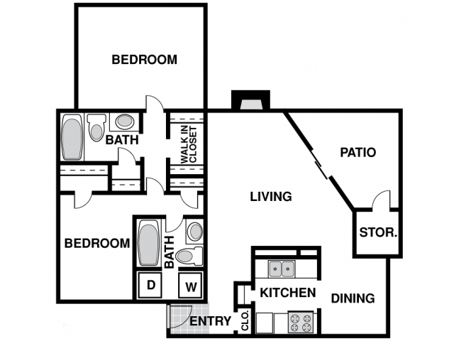 1,060 sq. ft. F floor plan