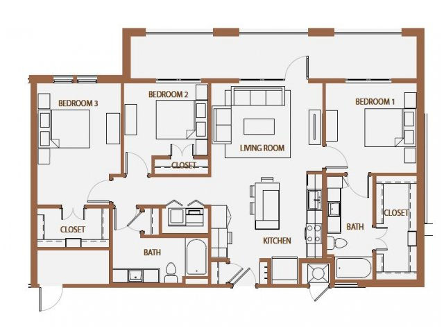 1,311 sq. ft. C1 floor plan