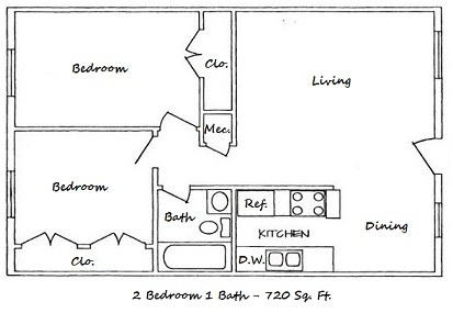 720 sq. ft. B-ABP floor plan