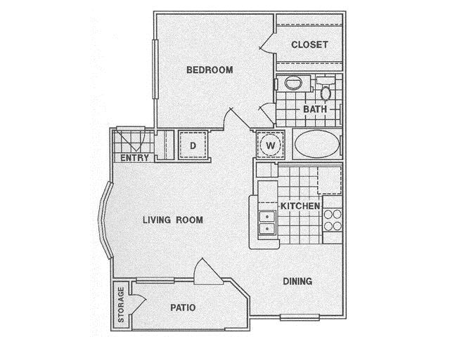 642 sq. ft. A floor plan